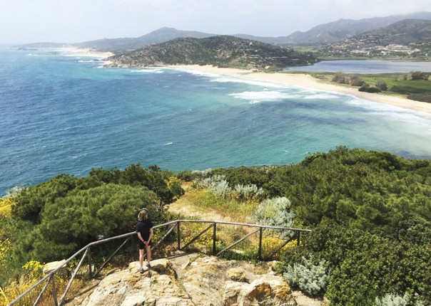 coast-italy-sardinia-view-chia-tower.jpg - Italy - Sardinia - Island Flavours - Self-Guided Leisure Cycling Holiday - Italia Leisure and Family Cycling