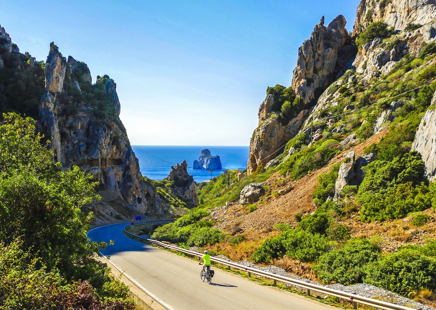 descending-towards-the-pan-di-zucchero-sardinia-cycling-holidays.jpg - Italy - Sardinia - Island Flavours - Self-Guided Leisure Cycling Holiday - Italia Leisure and Family Cycling