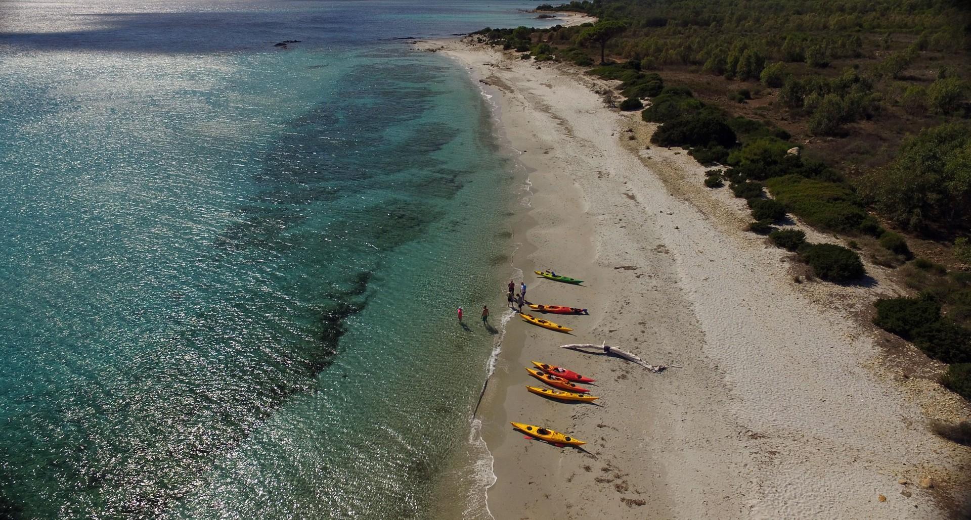 Bidderosa - sea kayaking aerial shot2.jpg - Sardinia - Wilderness Blue Sea Kayaking - Kayaking