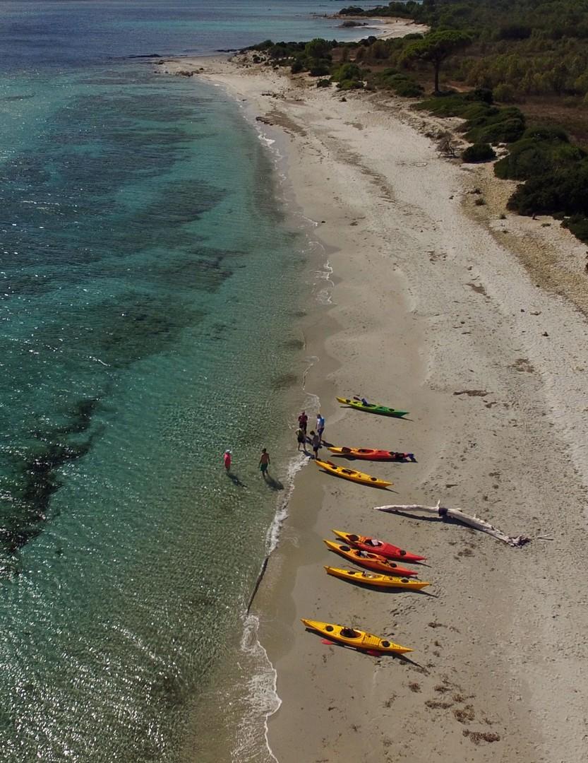 Bidderosa - sea kayaking aerial shot2d.jpg - Sardinia - Wilderness Blue Sea Kayaking - Kayaking