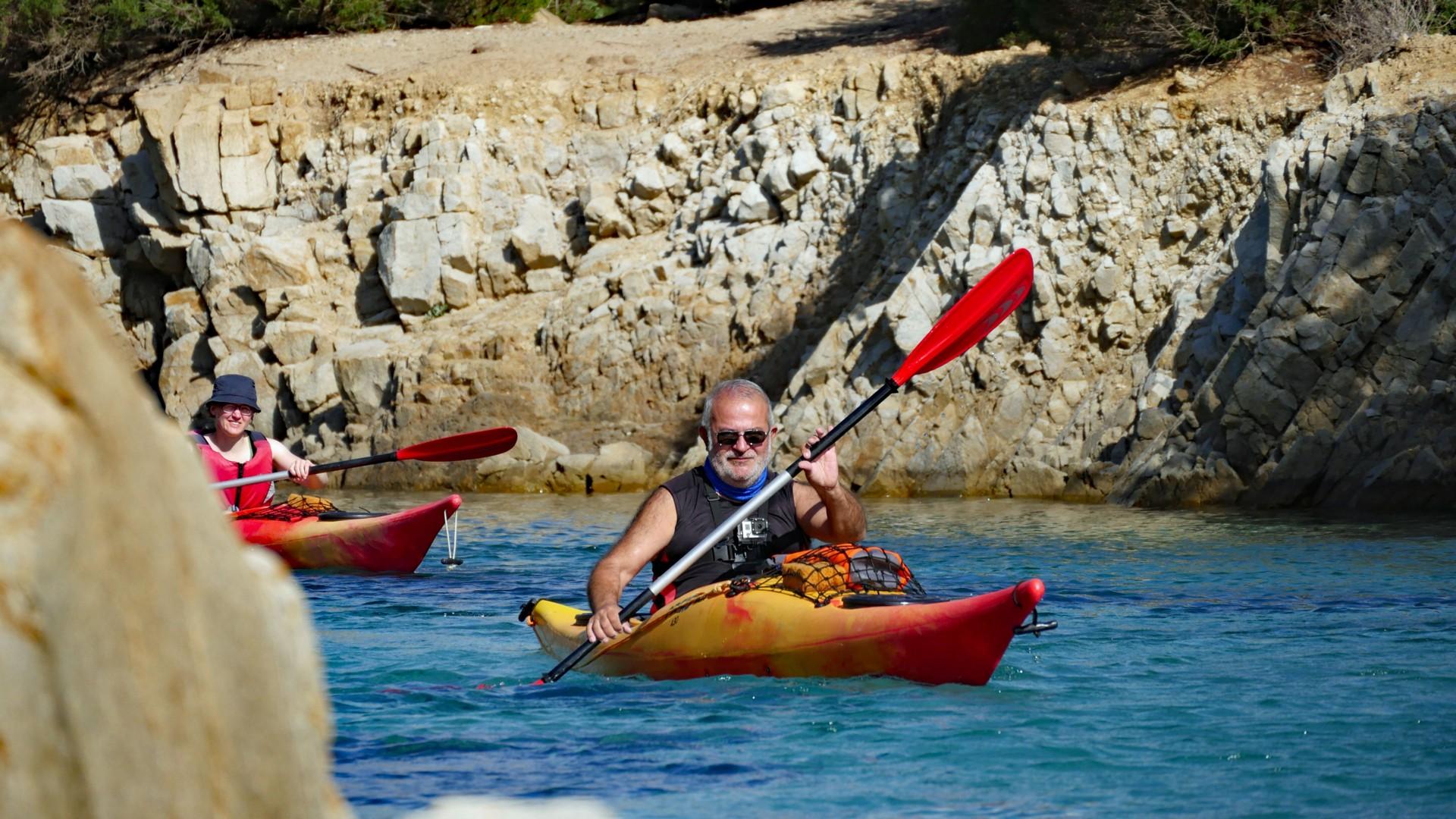 Cala Liberotto - Gavino leading the kayakers.jpg - Sardinia - Wilderness Blue Sea Kayaking - Kayaking