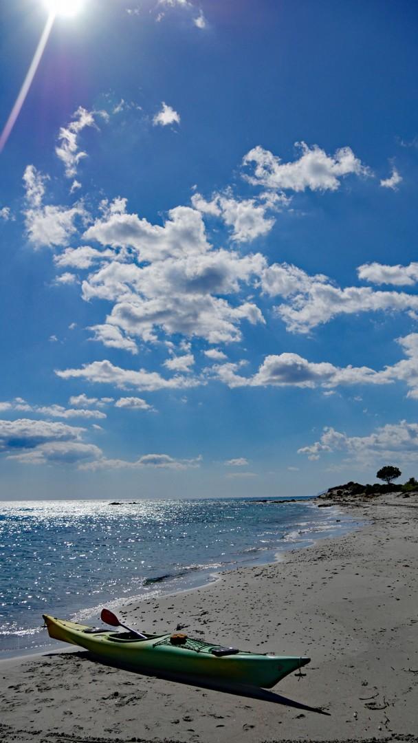 Spiaggia di Berchida - kayak on the beach.jpg - Sardinia - Wilderness Blue Sea Kayaking - Kayaking